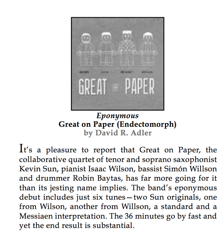 Great On Paper Jazz Quartet reviewed by David R  Adler in