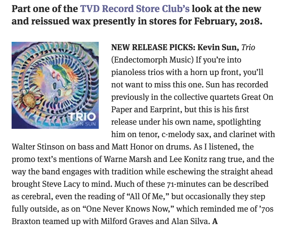 Kevin Sun Jazz Saxophone Trio Review in The Vinyl District