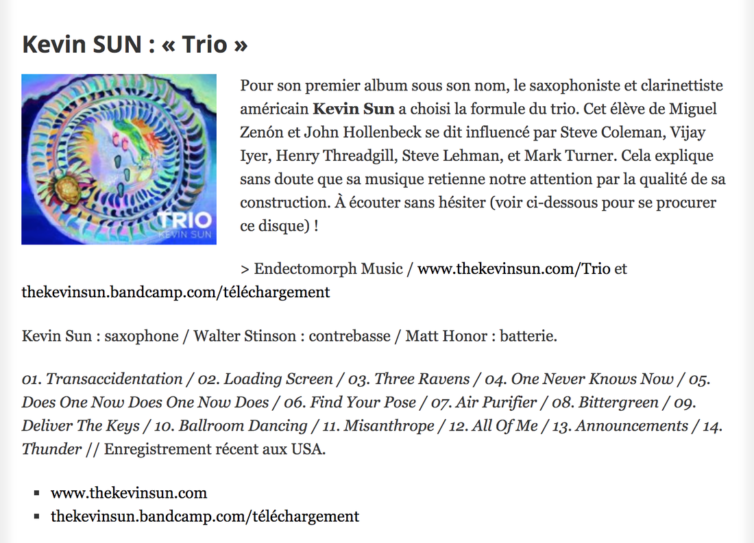 French Jazz Blog Culture Jazz reviews Trio by Kevin Sun